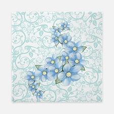 baby blue flowers Queen Duvet