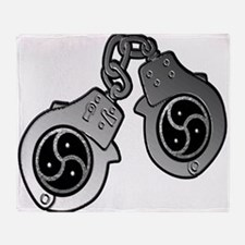 Metal Handcuffs and BDSM Symbol Throw Blanket