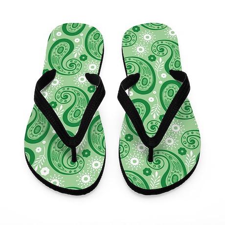 Green Paisley Flip Flops