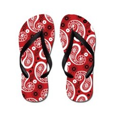 Red White and Black Paisley Flip Flops