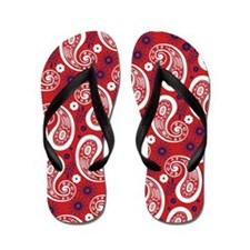 Red White and Blue Paisley Flip Flops