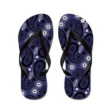 Blue Black and White Paisley Flip Flops