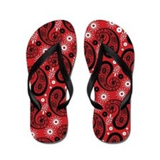 Red, White and Black Paisley Flip Flops