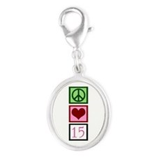 Peace Love Fifteen Silver Oval Charm