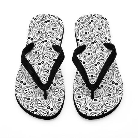 Black and White Paisley Flip Flops