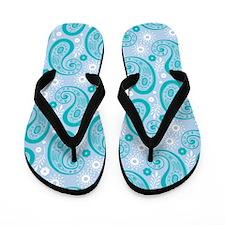 Blue Paisley Flip Flops