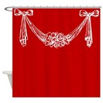 White Floral Swag Shower Curtain