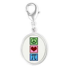 Peace Love Pi Silver Oval Charm