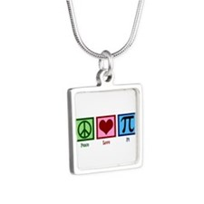 Peace Love Pi Silver Square Necklace