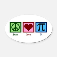 Peace Love Pi Oval Car Magnet