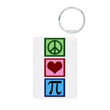 Peace Love Pi Aluminum Photo Keychain