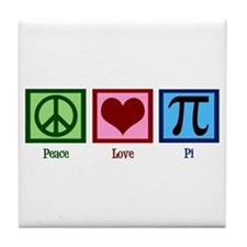 Peace Love Pi Tile Coaster