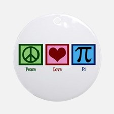Peace Love Pi Ornament (Round)