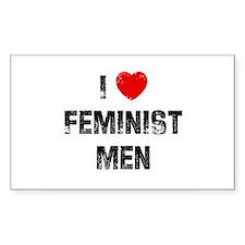 I * Feminist Men Rectangle Decal