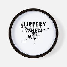 Slippery When Wet Wall Clock