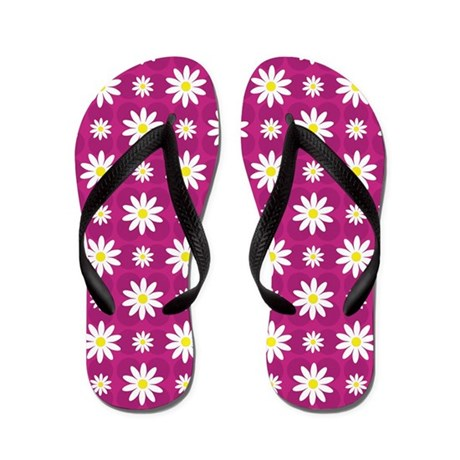 Daisies on Purple Flip Flops