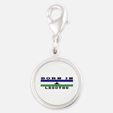 Born In Lesotho Silver Round Charm