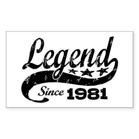 Legend Since 1981 Sticker (Rectangle)