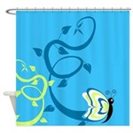 Floral Butterfly Design Shower Curtain