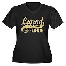 Legend Since 1982 Women's Plus Size V-Neck Dark T-