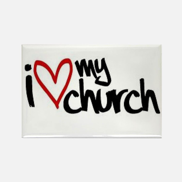 I love my church rectangle magnet 10 pack