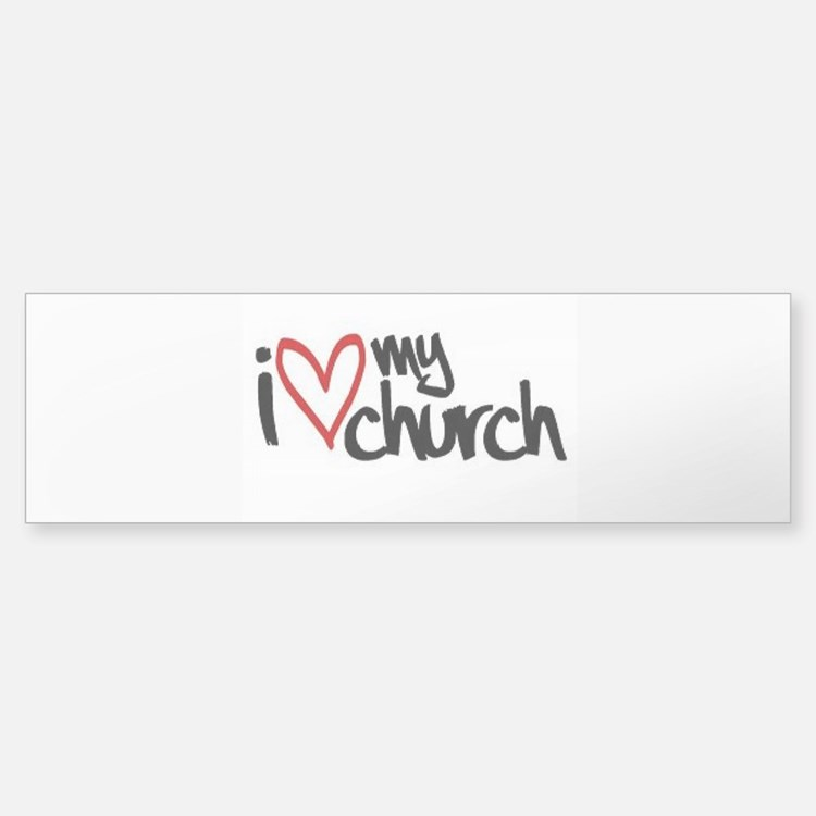 I love my church heart. Bumper Bumper Bumper Sticker