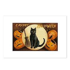 Black Halloween Cat Postcards (Package of 8)