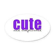 Purple Cute Complicated Oval Car Magnet