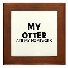 My Otter Ate My Homework Framed Tile