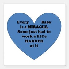 "Miracle Baby Square Car Magnet 3"" x 3"""