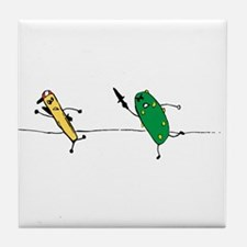 Angry Pickle and French Fry Tile Coaster