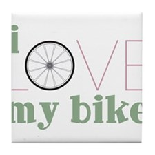 I Love My Bike Tile Coaster