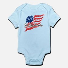 "American Flag inscribed ""God Bless America"" Onesie"