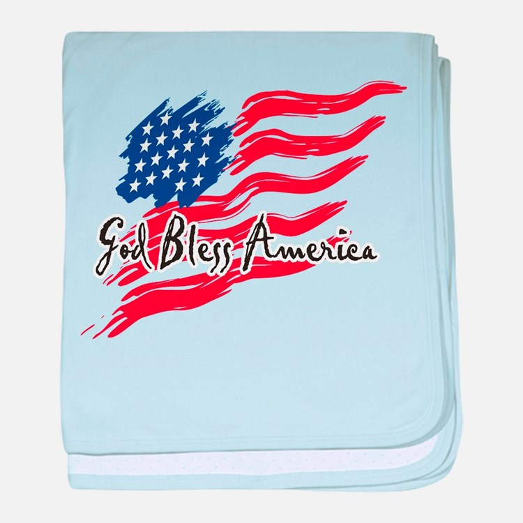 """American Flag inscribed """"God Bless America"""" baby b"""