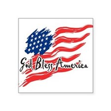 "American Flag inscribed ""God Bless America"" Square"