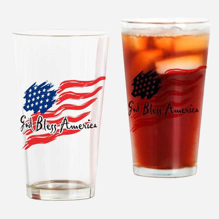 "American Flag inscribed ""God Bless America"" Drinki"