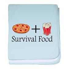 Survival Food. Pizza plus Beer baby blanket