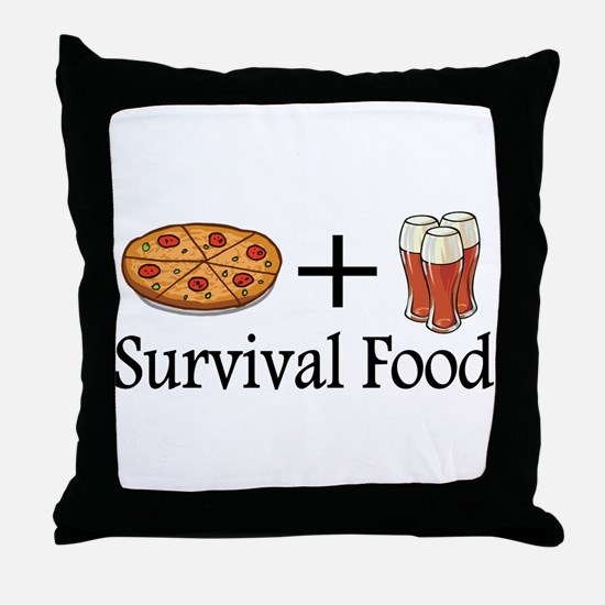 Survival Food. Pizza plus Beer Throw Pillow
