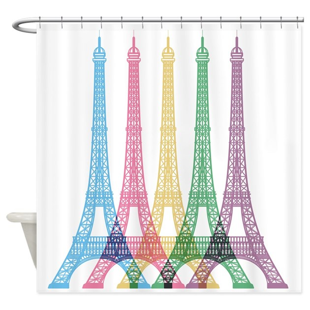 Eiffel Tower Pattern Shower Curtain By BestShowerCurtains