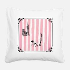 A walk in London Pink Square Canvas Pillow