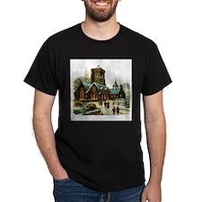 Christmas Night - Victorian Church Scene T-Shirt