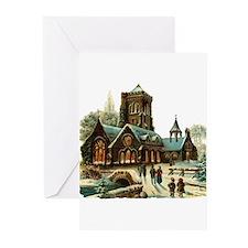 Christmas Night - Victorian Church Scene Greeting