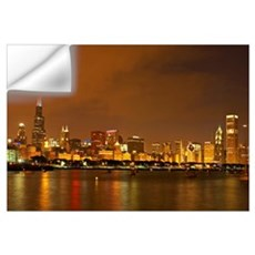 Chicago Skyline At Night Wall Decal