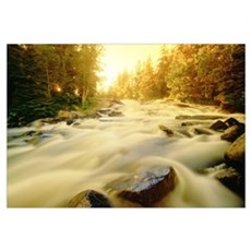 Flowing Water In Rushing River Provincial Park Nea Poster