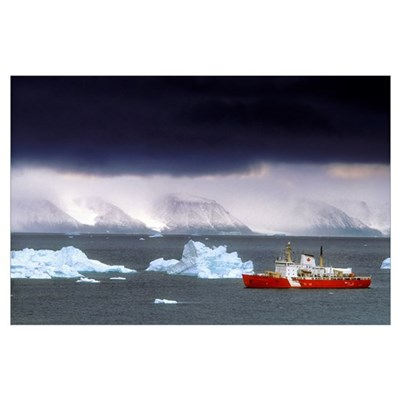 Canadian Coastguard Icebreaker Visiting The Coast Poster