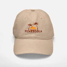 Pensacola Beach - Palm Trees Design. Baseball Baseball Cap
