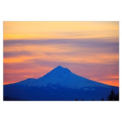 Oregon, United States Of America; Sunrise Over Mou Framed Print