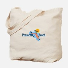 Pensacola Beach - Map Design. Tote Bag