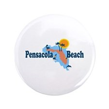 "Pensacola Beach - Map Design. 3.5"" Button"