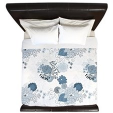 Blue Whimsical Floral King Duvet